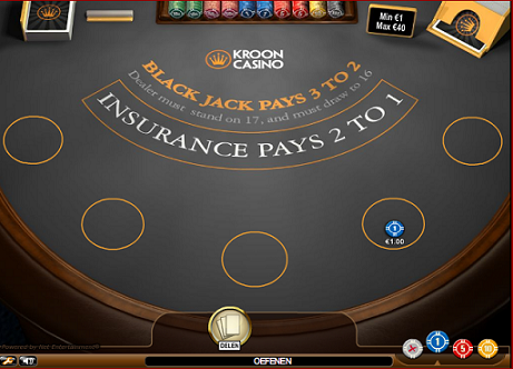 Printscreen Kroon Gratis Blackjack Classic