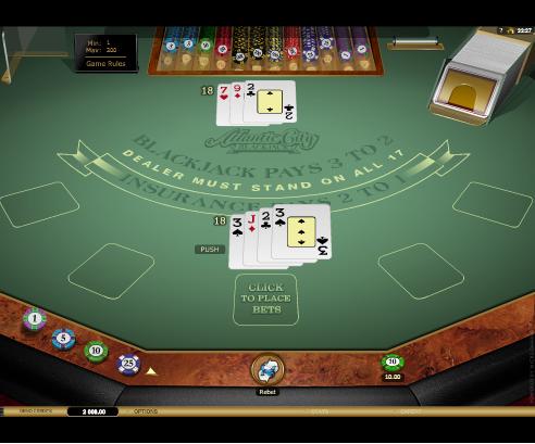 Printscreen Betamo Atlantic City Blackjack