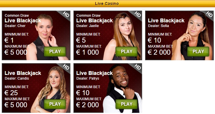 PlaySunny Casino Live Blackjack
