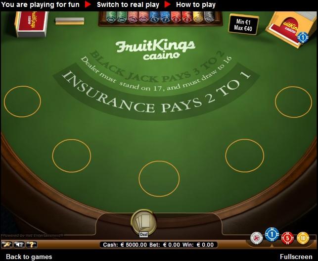 Zonder storting blackjack Casino
