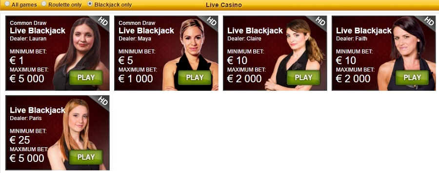 Live Blackjack PlaySunny Casino