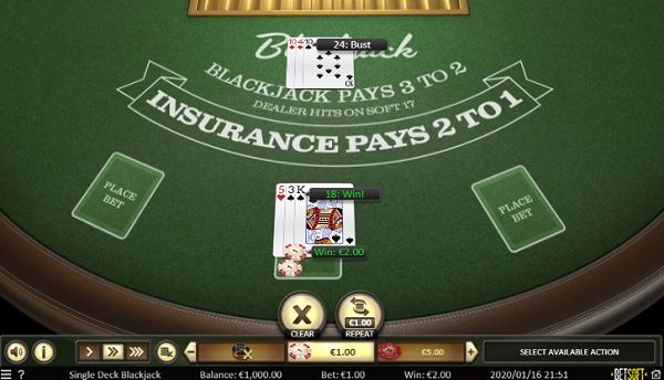 Spinia Casino Gratis Blackjack
