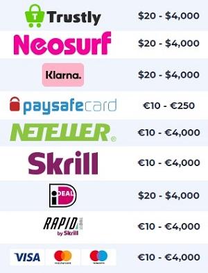 Betalingsmethoden NighRush Casino