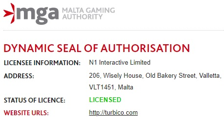 Turbico Vergunning Malta